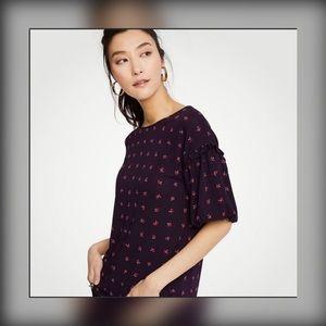 Ann Taylor Bell Sleeve Purple Floral Shirt M